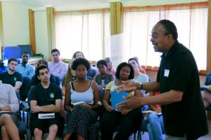 Clarence B. Jones, advisor and speechwriter for Martin Luther King Jr., lectures AGF Ambassadors at the retreat.