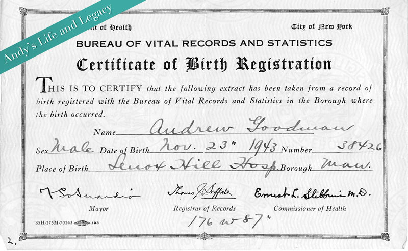 andrew-goodman-birth-certificate - Andrew Goodman Foundation ...