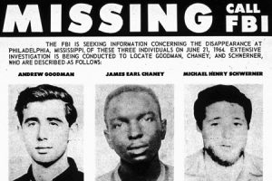 Image of the missing FBI poster searching for Goodman, Chaney, and Schwerner